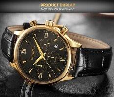 Free shipping New CUENA Fashion Men Casual Checkers Faux Leather Quartz Analog Wrist Watch Malaysia