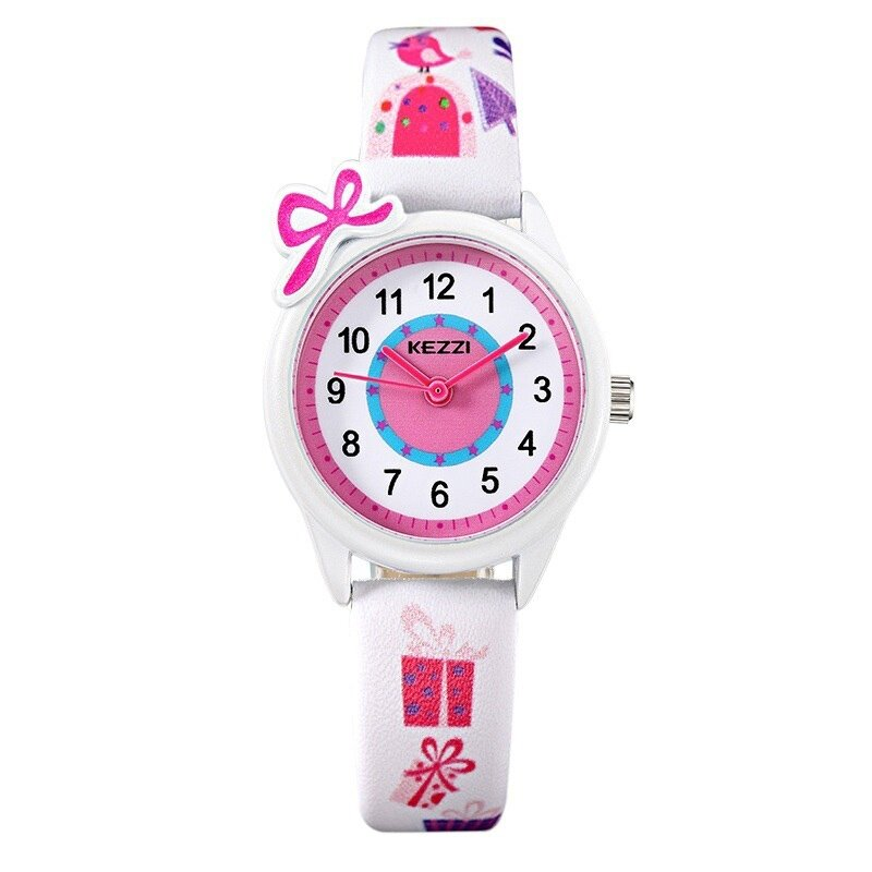 New Cute Bow Cartoon Watch Waterproof Girl Kid Children Wristwatches Round Dial Printings Leather Strap Quartz Watch Reloj Malaysia