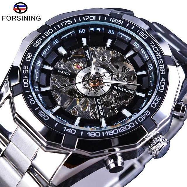 31070b04ea8 New Forsining 2018 stainless steel waterproof men s fashion watch top brand  luxury business transparent mechanical men s