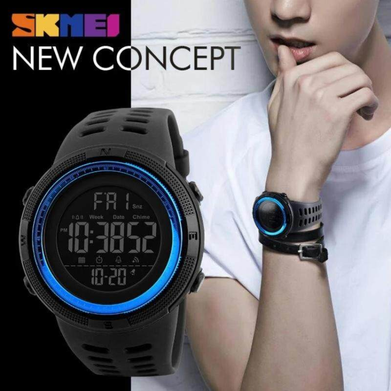 New Men Sports Watches 50M Waterproof Watch Countdown Double Time Watch SKMEI Alarm Chrono Digital Wristwatches 1251 - Black Blue Malaysia