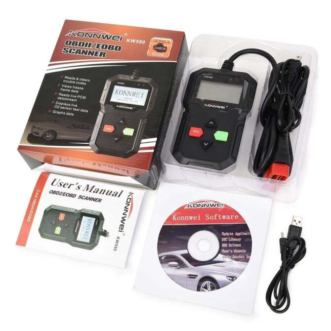 New OBD2 Diagnostic Scanner KONNWEI KW590 Classic Enhanced Universal OBD II Engine Code Reader Full OBDII EOBD Functions Auto Diagnostic Codes Scanners Check Engine Light Scan Tool for all Cars from 1996 - intl