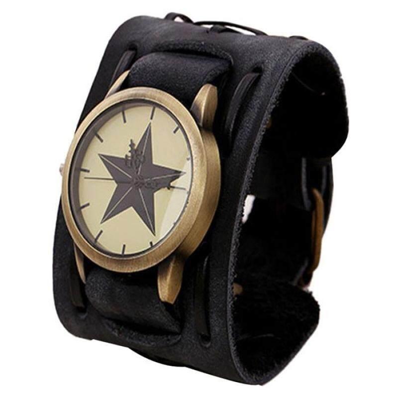 New Style Retro Punk Rock Brown Big Wide Leather Bracelet Cuff Men Watch Cool black Malaysia