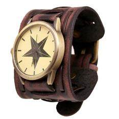 New Style Retro Punk Rock Brown Big Wide Leather Bracelet Cuff Men Watch Cool brown free shipping Malaysia