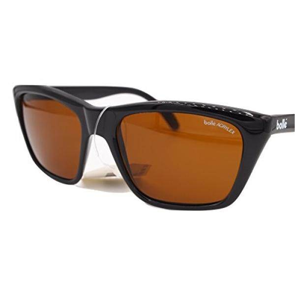 New Vintage Bolle 527 Sunglasses Black Glossy Frames Acrylex Amber Lenses NOS
