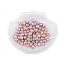New50PC 7-8mm Natural  Freshwater Real Pearl Loose Beads Gift DIY Malaysia