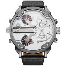 Newest OULM Brand  Mens Fashion Business DZ Style Watch  Male Quartz Watch Leather Strap Wristwatch Relogio Masculino Alloy Metal Army Big Size Dual Time -Blue Malaysia