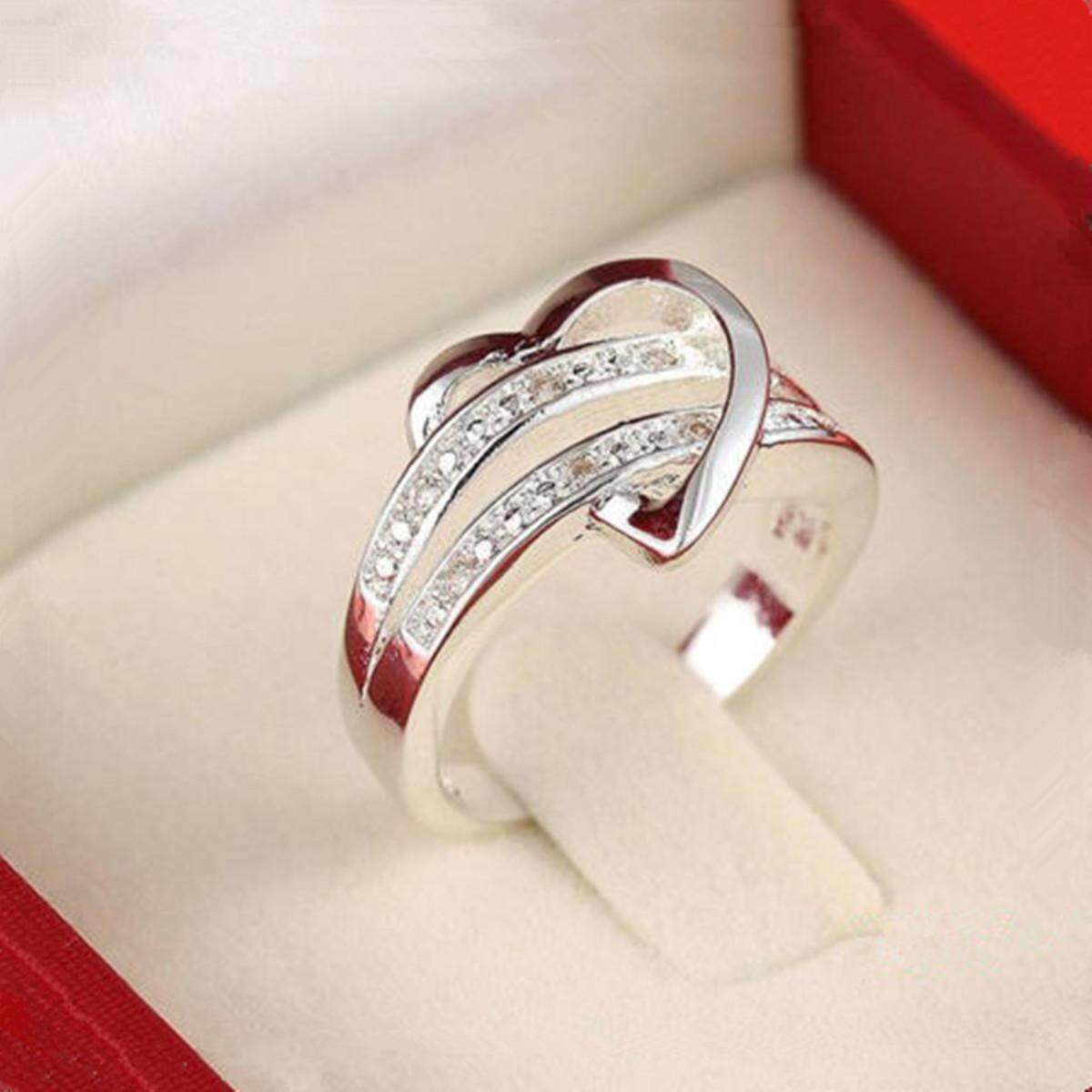 Bagus 925 Perak Batu Permata Hati Cinta Wanita Pernikahan Cincin Sz.7 8 9-Intl