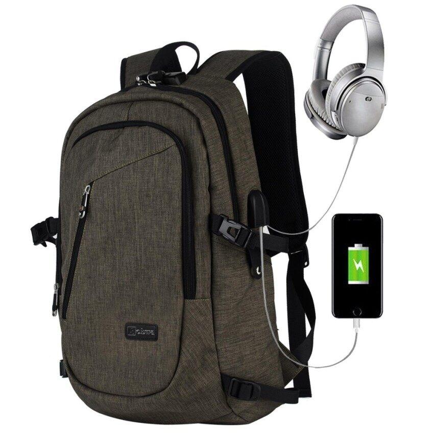 Nicetrade Bisnis Tahan Air Poliester Laptop Ransel dengan USB Pengisian Port dan Mengunci Cocok Dibawah 17-Inci Laptop dan buku Catatan (Hitam) -Internasional
