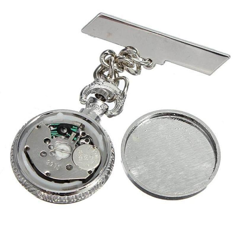 Nurse Silver Steel White Dial Brooch Quartz Fob Pin Pocket Watch Chain Hanging Malaysia