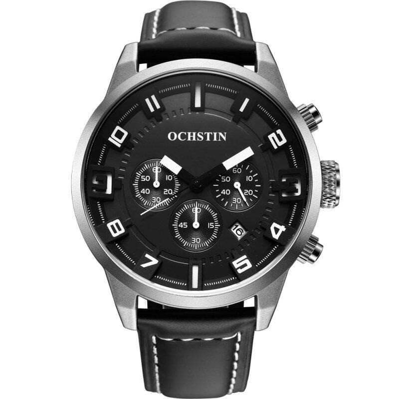 OCHSTIN GQ049 Genuine Leather Strap Steel Case Sport Man Chronograph Wrist Quartz Watch Malaysia