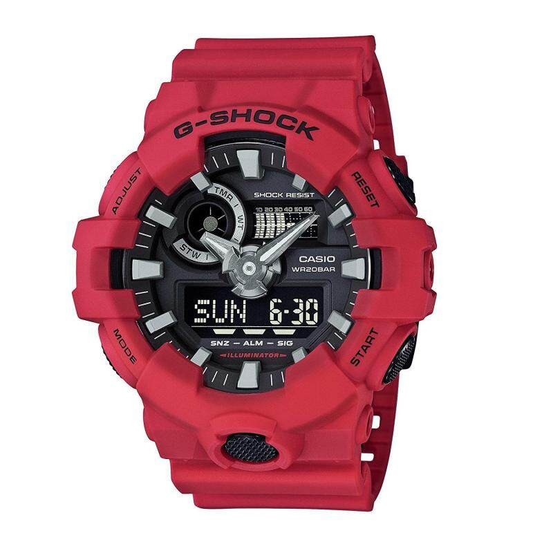(OFFICIAL MALAYSIA WARRANTY) Casio G-SHOCK GA-700-4A Standard Analog & Digital Mens Resin Watch (Red & Black) Malaysia