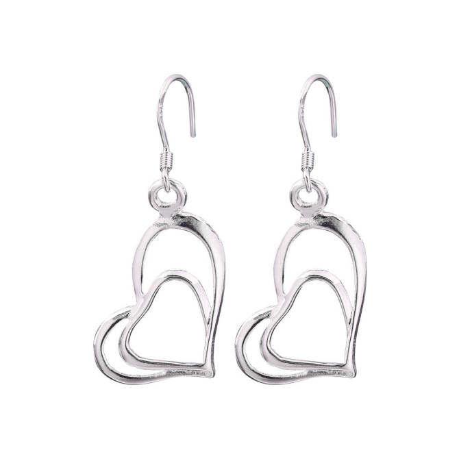 OH Women 925 Sterling Silver Double Love Heart Dangle Earrings Charm Jewelry - intl