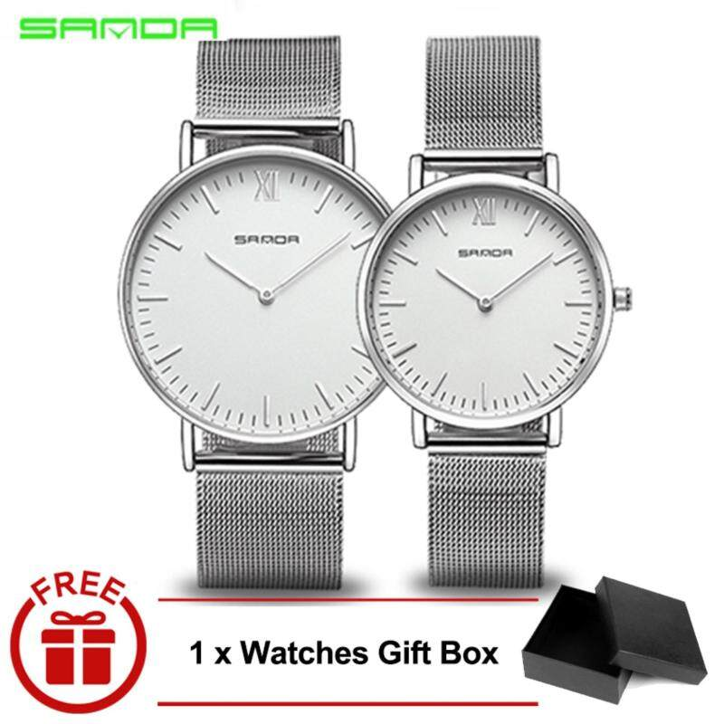 Original SANDA 208 Luxury Ultra Thin Stainless Steel Quartz Couple Watch (Silver White) Malaysia