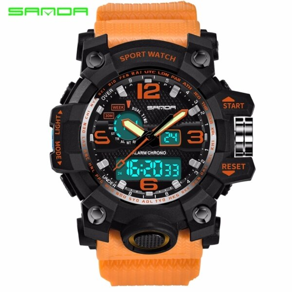 Original SANDA 742 G Style Military Waterproof Outdoor Sports Mens Shockproof Digital Watch (Black Orange) Malaysia