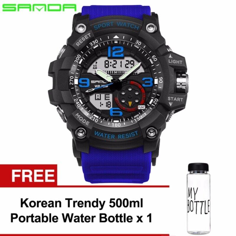 Original SANDA 759 G Style Military Waterproof Sports Mens Shockproof Digital Watch (Black Blue) FREE Water Bottle MyBottle Malaysia