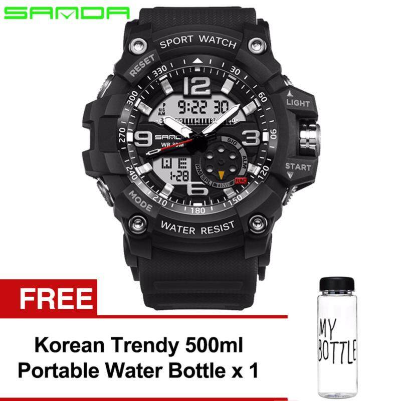 Original SANDA 759 G Style Military Waterproof Sports Mens Shockproof Digital Watch (Full Black) FREE Water Bottle MyBottle Malaysia