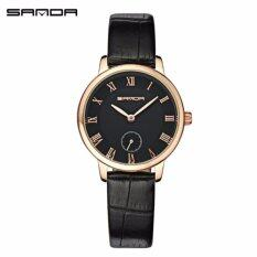 Original SANDA P187 Luxury Genuine Leather Black Band Date Display Quartz Watch for Women (Black Gold) Malaysia