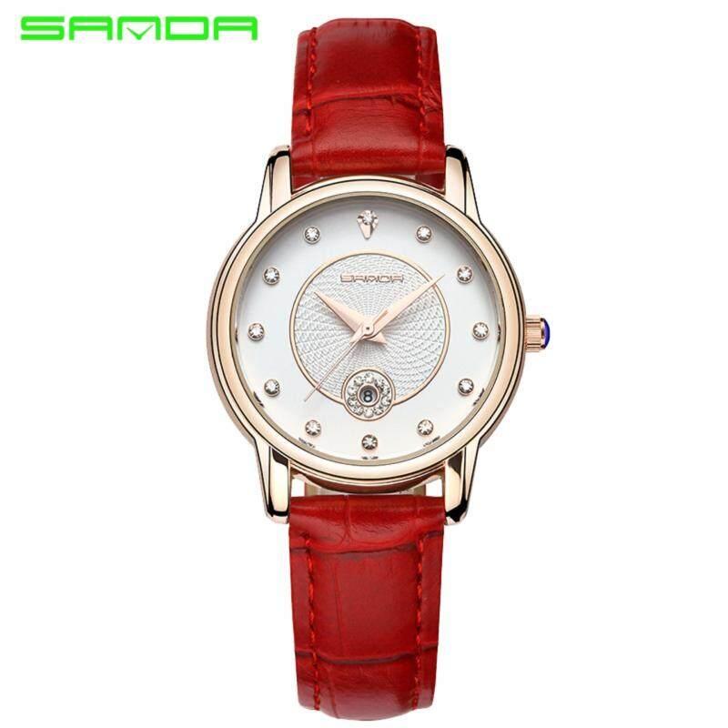 Original SANDA P198 Luxury Genuine Leather Band Date Display Quartz Dazzling Diamond Women Watch (Red Gold) Malaysia