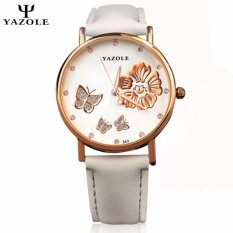 Original YAZOLE Crystal Butterfly Gold Flower Stainless Steel Leather Strap Watch for Women (White) Malaysia