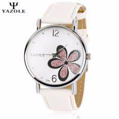 Original YAZOLE Purple Flower Pattern Round Dial Stainless Steel Strap Leather Watch For Women(White) Malaysia