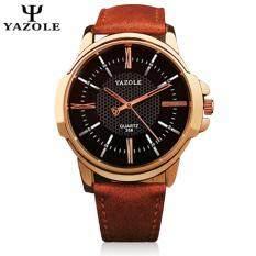 Original YAZOLE Roman Leather Band Stainless Steel Business Military Quartz Mens Wrist Watch (Brown Black) Malaysia