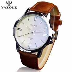 Original YAZOLE Round Dial Leather Band Stainless Steel Business Military Quartz Mens Wrist Watch (Brown White) Malaysia