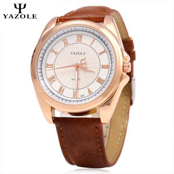 Original YAZOLE Signature Leather Band Stainless Steel Business Military Quartz Mens Wrist Watch (Brown White) Malaysia