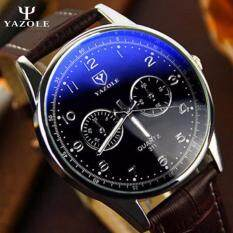 Original YAZOLE Vintage Leather Band Stainless Steel Business Military Quartz Mens Wrist Watch (Brown Black) Malaysia