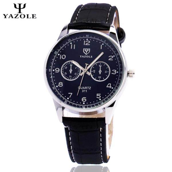 Original YAZOLE Vintage Leather Band Stainless Steel Business Military Quartz Mens Wrist Watch (Full Black) Malaysia