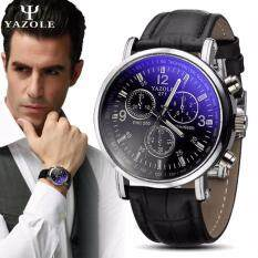Original YAZOLE Vintage Leather Band Stainless Steel Sport Military Quartz Mens Wrist Watch (Full Black) Malaysia