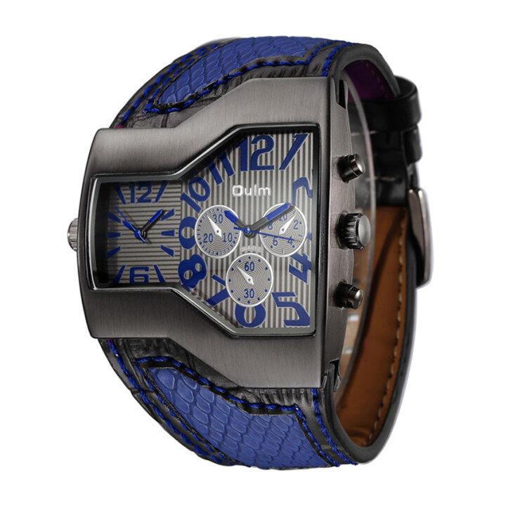 Startop Oulm HP1220 Mode untuk Pria Individualitas Kuarsa Tali Kulit Jam Tangan (Hitam)