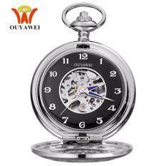 OUYAWEI Brand P06 Casual Hand Winding Mechanical Men Pocket Watch(Silver&Black) Malaysia