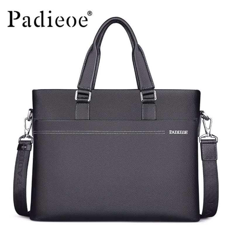 EverCute Padieoe High Quality Genuine Leather Men Business Briefcase Men Messenger Shoulder Bags Men Office Bag Laptop Briefcase