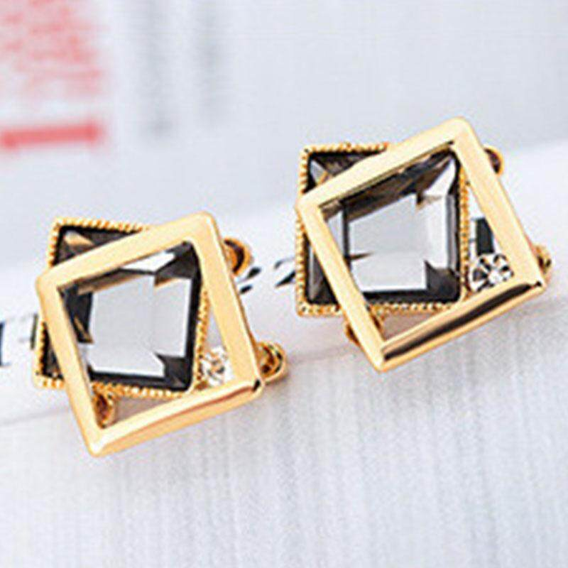Pasangan S925 Kristal Ear Stud Anting-Anting Geometris Anti Alergi Perhiasan Warna-warni