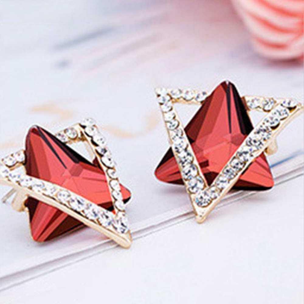 Pasangan S925 Kristal Anting-Anting Warna-warni Alergi Bling Geometris Anti Perhiasan