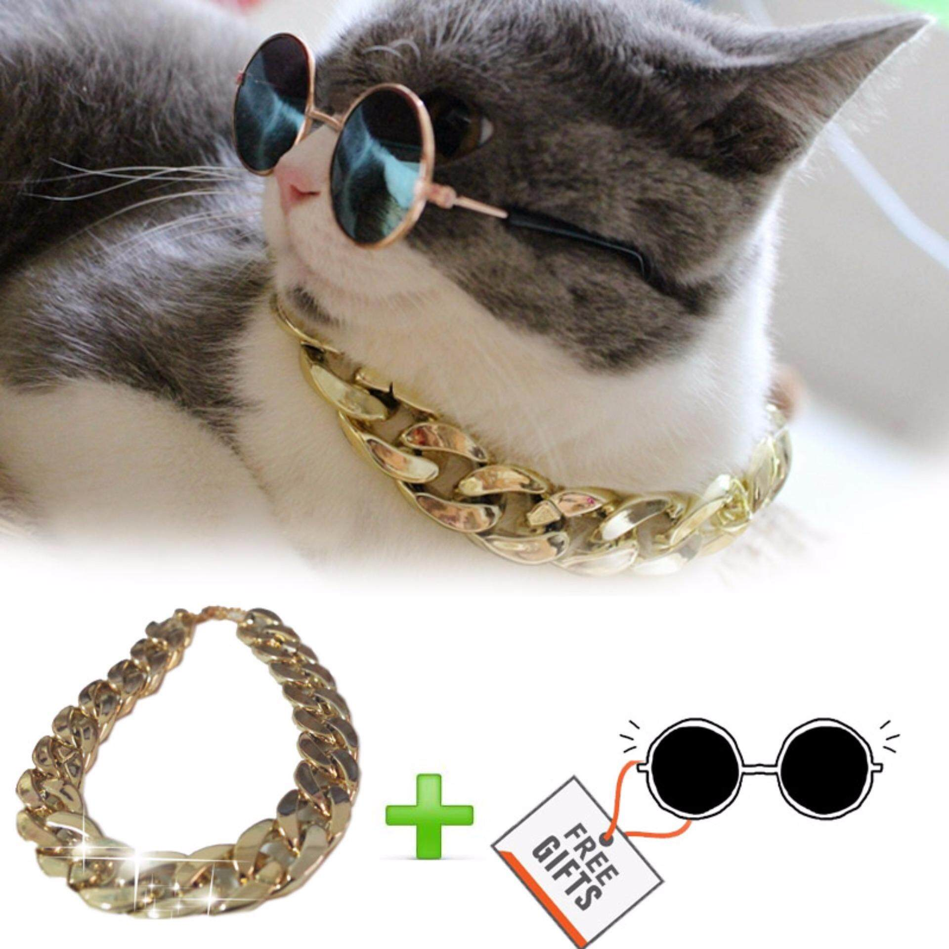 Pet Accessory Beautiful Cat Necklace Cat Collar Big Golden Chain For Cat And Small Dog (36-41cm) - Intl By Pets Dream Official Store.