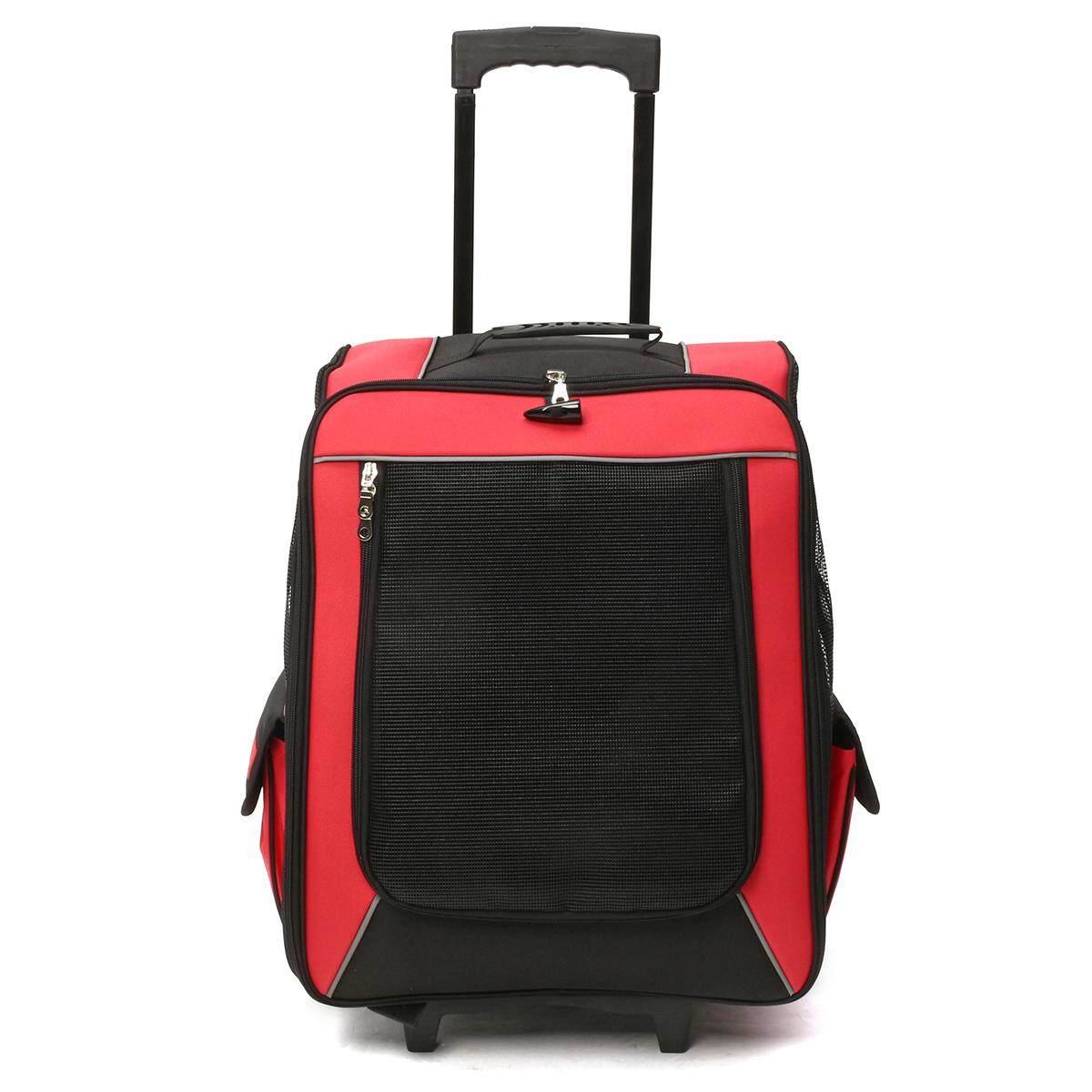 กระเป๋าสัตว์เลี้ยงสุนัขแมวเป้สะพายหลังม้วนได้ Travel ล้อกระเป๋า Fit เข็มขัดนิรภัยรถ  สีแดง - Intl By Channy.