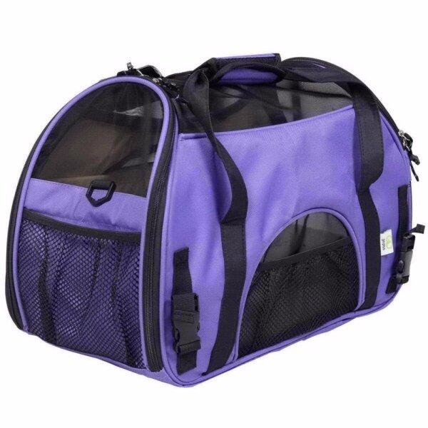 Pet Dog Cat Carrier Bag Large Safe Portable Tote Carry Bag Air Permeable Net Window Portable Travel Outdoor Pet Carrier Purple L