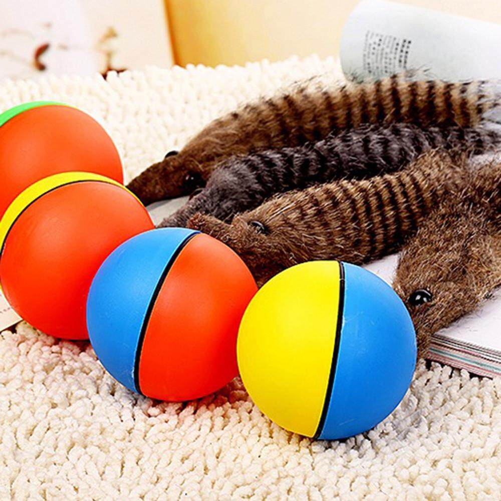 Pet Dog Cat Weasel Funny Motorized Rolling Ball Appears Jump Moving Alive Toy - intl