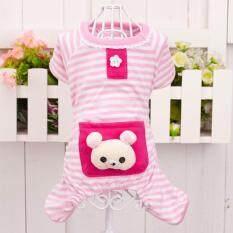 Pet Dog Stripes Pajamas Jumpsuits Coat Clothes Apparel Clothing Pink S