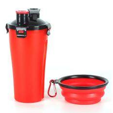 Pet Drinking Water Bottle With Bowl,2 In 1 Portable Pet Outdoor Dispenser Water Cup Food Container For 250g Snack And 300ml Water By Fastour.