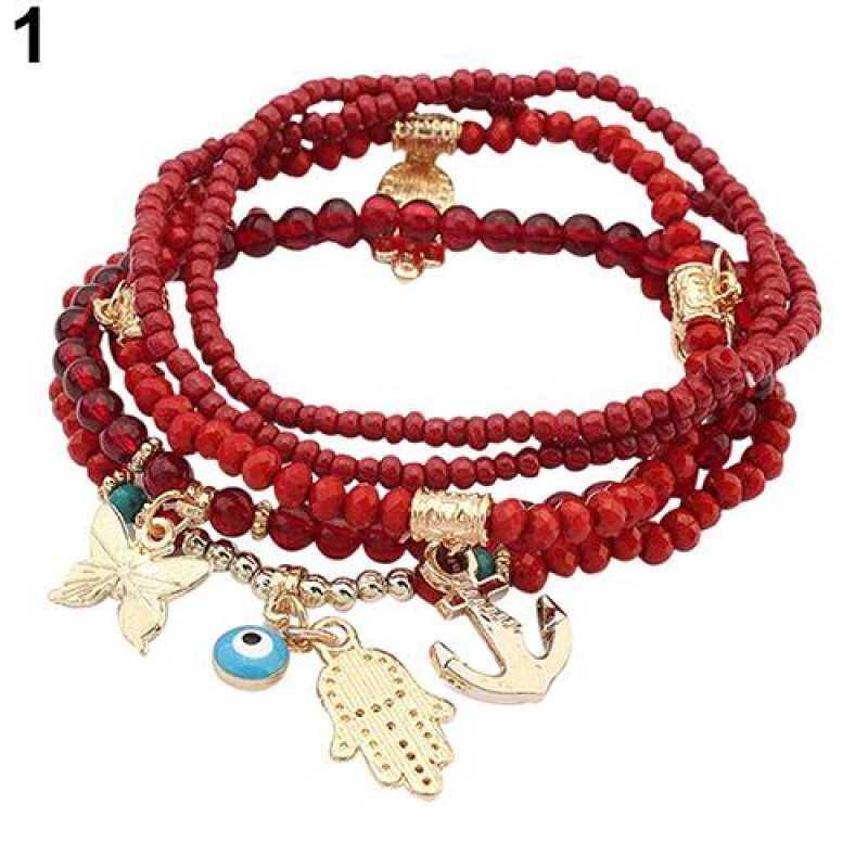 FF8866YY Phoenix B2C Wanita S Tangan Hamsa Fatima Mata Merah Gelang Kupu-kupu Gelang Berlapis