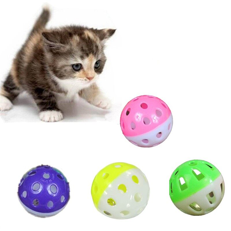 Plastik Warna-warni Bola Gemerincing Hewan Peliharaan Kucing Aksi Bermain Mengejar Bola Mainan Persediaan-