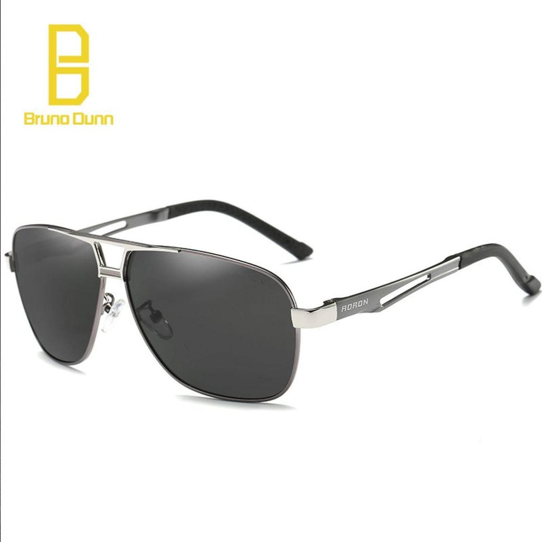 Bruno Dunn Kacamata Hitam Terpolarisasi Pria Wanita Asli Kotak Desainer Bermerk Sunglases dengan Kotak Kaca Mata Hitam Kacamata untuk Pria 8521 (Abu-abu Frame Hitam lensa) -Intl