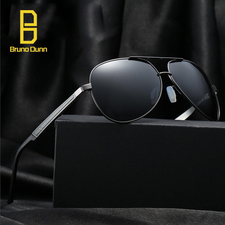 Bruno Dunn Terpolarisasi Pria Kacamata Titanium Asli untuk Pria Sun Kacamata Merk Desainer 339 (Abu