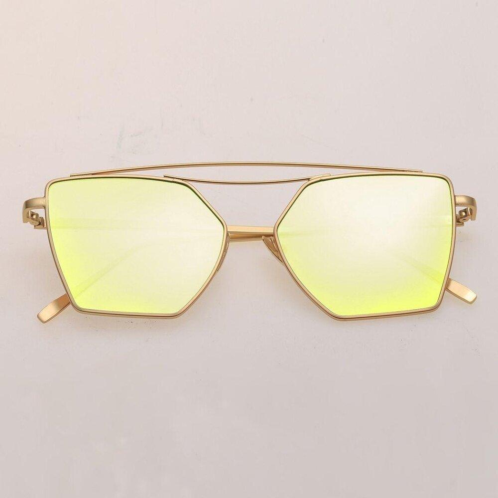 Panas Lengkap Poligonal Bingkai Logam Lensa Kacamata-Intl