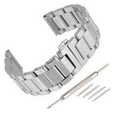 Premium 304 Stainless Steel Bracelet Watch Band Strap Double Clasp Solid Link Silver 22mm Malaysia