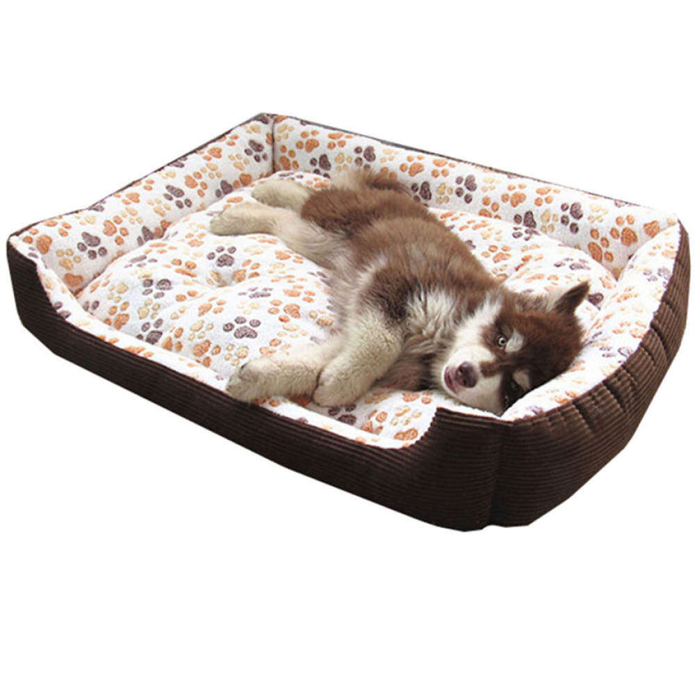 [PREMIUM QUALITY] XL Size Super Comfy And Soft PAW Logo Pet Bed ForLarge Dogs 90x70x15CM (White)