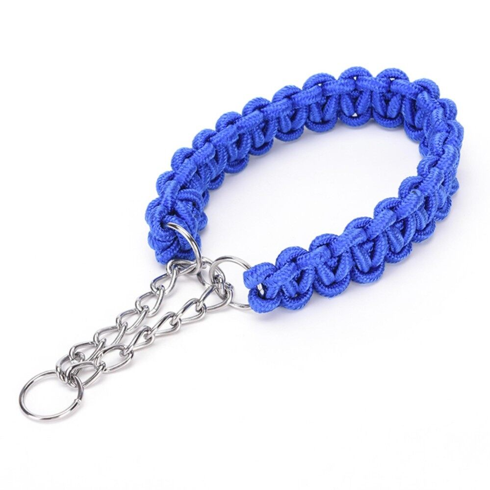 Puppy Pet Dog Rope Training Running Leash Lead Strap Braid Traction Safe Collar Blue Size:S