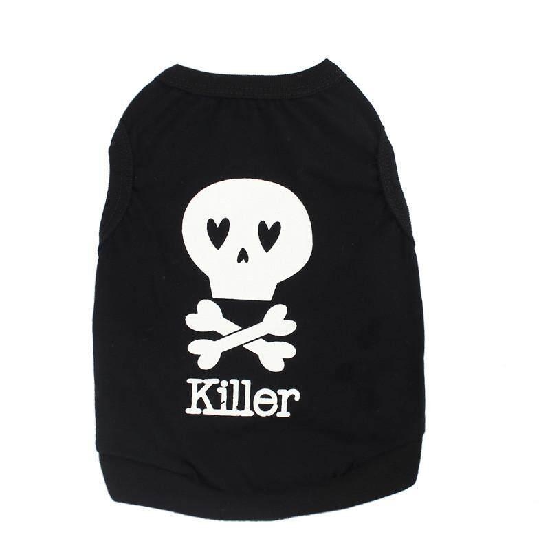 Kaos Anak Anjing Hewan Peliharaan Musim Panas Rompi Tengkorak Anjing Kecil Kucing Pakaian BK/M